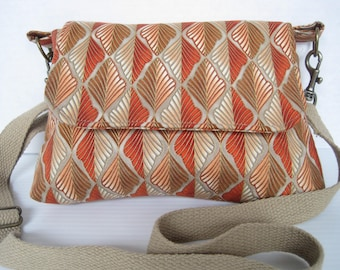 Handbag, Crossbody, Purse, Fabric, Handmade, Mini Messenger Bag, Women, Girls Accessories, Orange Leaf Cotton Print