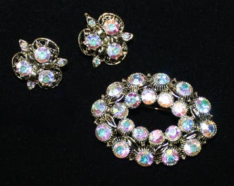 Pretty Vintage, AB Crystal Brooch and Earring Set in Antiqued Gold Tone, Aurora Borealis