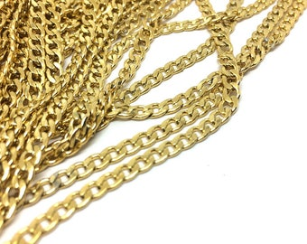 5/20 Meters Beveled Flat Curb Stainless Steel Unfinished Chain From 3mm/4.4mm Wide