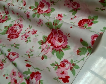 """Cath Kidston Ikea ROSALI 100% Cotton Fabric Material floral roses - 150cm/59"""" wide - WHITE ROSE"""