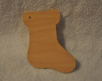 Christmas Ornaments, wooden unfinsihed Christmas stockings - Set of 6