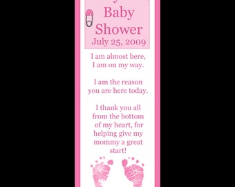 60 Personalized Bookmarks for Baby Shower - LITTLE PINK FOOTPRINTS