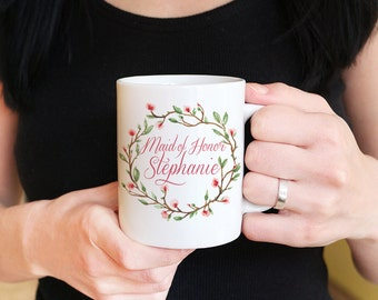 Maid of Honor Mug - Wedding Mug Maid of Honor Gift - Bridesmaid Proposal Watercolor Floral Mug - Bridesmaid Gift - Bachelorette Party Favor