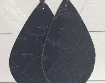 leather teardrop earrings, black leather teardrops, dinosaur print