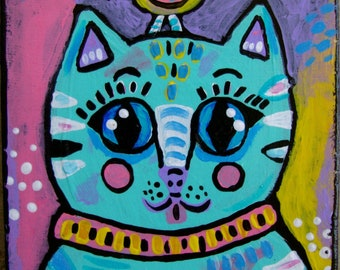 Small Whimsical Cat Painting on Wood
