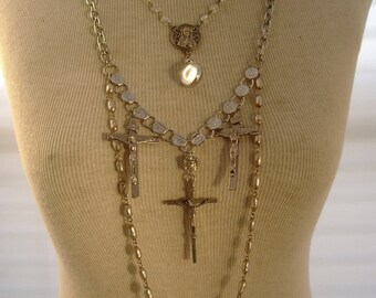 Faith -  Mustard Seed Rosary Beads Crucifixes Three Tiered Recycled Assemblage Catholic Religious Long Statement Necklace