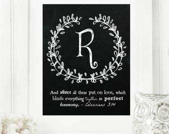 """Instant """"Family Monogram Scripture"""" Chalkboard Wall Art Print 8x10 Typography Letter """"R"""" Printable Home Decor"""