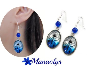 Oval earrings flowers, dandelion, resin beads, glass 3212 cabochons