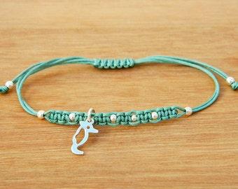 Sterling silver bracelet. Sea horse charm bracelet. Tiny silver bead bracelet. Friendship bracelet. Cord bracelet. String bracelet.C006
