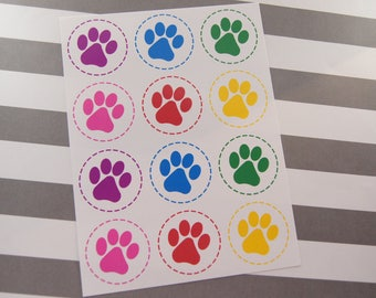 Paw Print Stickers Envelope Seals Stickers Birthday Stickers Birthday Favor Stickers Multi Colors - Set of 24 SES375