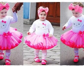 Hello Kitty personalized birthday tutu outfit, 1st Birthday Cake Smash Outfit, Pink Polka Dot Hello Kitty tutu set, Kitty Birthday Outfit