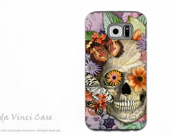 Butterfly Sugar Skull Galaxy S6 Case - TOUGH dual layer S 6 Case with Floral Day of The Dead Art