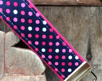 READY TO SHIP-Beautiful Key Fob/Keychain/Wristlet-Dots on Hot Pink