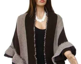 Brown Smoke Grey Wool Ruffle Hand knit Shawl, Winter Accessory, Bridal Wrap, Bridesmaid Gift, Express Cargo