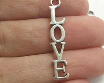 10 Love Word Charms, Valentines Day Charms, Silver Love Charms (1-1336)