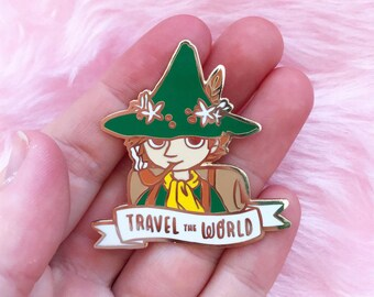 Travel the World hard enamel lapel pin