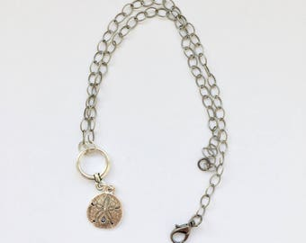 Seashell Charm necklace, silver tone, chocker, chain, gift for her