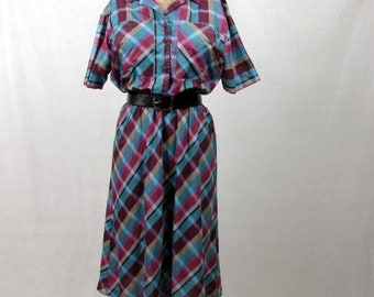 Vintage 70s Madras Print Shirt Dress / medium / Teal, Dark Fuschia / Plaid Dress / Short Sleeves / Gathered Waist / Button Front
