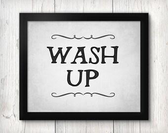 Black and White Bathroom Art, Bath Typography Print, Wash Up, bathroom decor, rustic shabby chic, gray, cottage farmhouse country chic