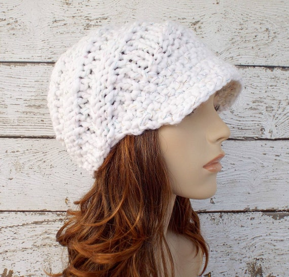 Knit Hat Womens Hat Newsboy Hat - Swirl Beanie with Visor in Celebration Metallic White Knit Hat Womens Accessories - READY TO SHIP