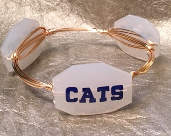 CATS white and gold wire-wrapped bangle bracelet
