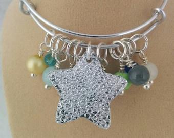 Charm Bracelet, Textured, Adjustable Bangle, Aluminium, Beads, Gift for Her, Sea Themed