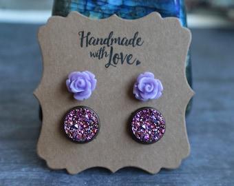 Gorgeous Purple Druzy Rose Set, Druzy Studs, Druzy Set, Matching Ring, 12mm, Stocking Stuffer, Christmas Gift
