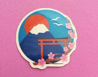 Japan Mount Fuji Cherry Blossom Vinyl Sticker - Japan Sticker