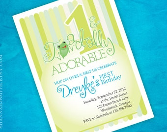 Frog Themed Toadally Adorable Birthday Party Invitation