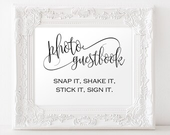 Photo Guestbook Sign Template - Photo Wedding Guestbook - Reception sign - Wedding Sign - Downloadable wedding #WDH301_19