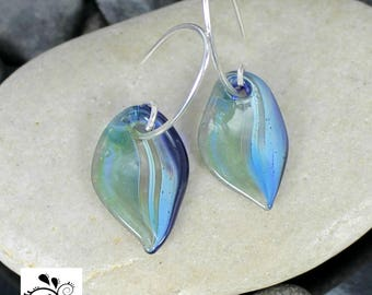 Organic Green Leaf Earrings - Lampwork Glass Dangles - Sterling Silver