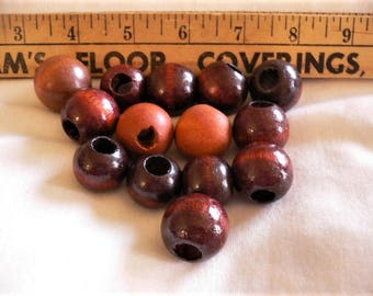 14 Large Round Wood Beads, assorted Sizes and Shades, Hole Sizes Vary, Jewelry Supply