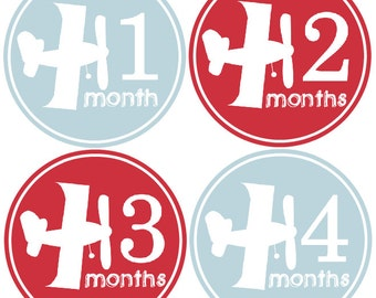 Monthly Baby Boy Stickers Baby Month Stickers, Monthly Bodysuit Sticker, Monthly Stickers Airplanes (Alex)