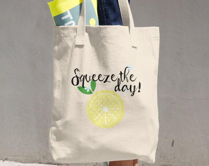 Squeeze the day! Cotton Tote Bag, Reusable Tote, Reusable Bag, Cloth Bag, Lemons