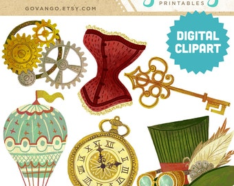 STEAMPUNK Digital Clipart Instant Download Illustration Art Print Victorian Vintage Goggles Corset Gears Top Hat Key Hot Air Balloon