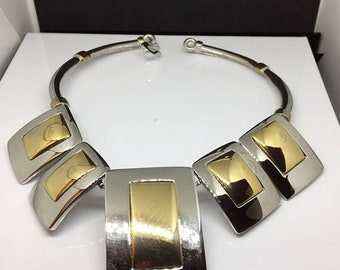 Alexis Kirk Runway Gold & Silver Tone Modernist Necklace