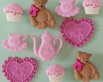 TEA PARTY Cup Pot Teddy Bear Heart Shabby Chic Novelty Dress It Up Craft Buttons