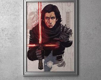 Kylo Ren - STAR WARS - Episode VII - The Force Awakens - Unmasked - Ben Solo - Original Art Poster