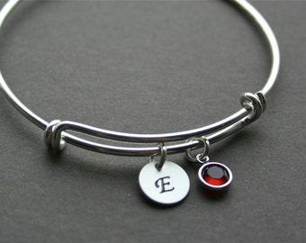 Personalized Initial Birthstone Bangle Bracelet, Custom Birthstone Initial Bracelet, Name Disc Bracelet, Monogram Bracelet, Graduation Gift