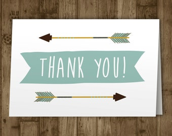 Thank You Card. Printable. Arrow. Baby Shower. Boho. Baby. Boy. Blue. Greeting