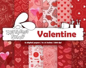 Valentine Digital Paper Pack Valentines Printable Pattern Printable paper Heart Digital Paper Love Digital Paper Valentines Backgrounds
