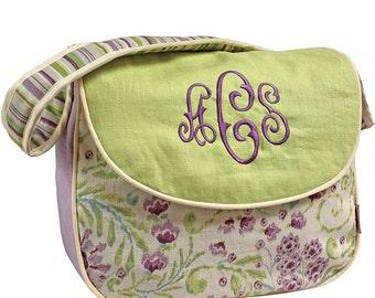 Monogrammed Messenger Diaper Bag - Lilac Garden