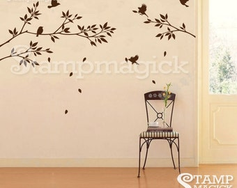 Tree Branch Wall Decal with leaves - vinyl wall decal graphics - wall décor - home décor - K021