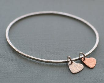 Sterling silver bangle square hammered silver and copper heart charm 925 silver stacking bangle