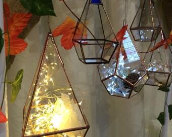 pyramid terrarium, stained glass candle holder, geometric terrarium, glass planter, red glass, copper lantern, wedding decoration