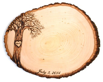 Script Date Design: Wood slice rustic theme wedding guest books. Personalized