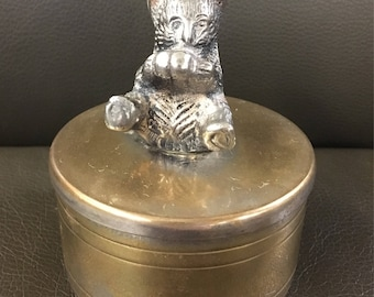 Antique round Trinket box with Cat on lid