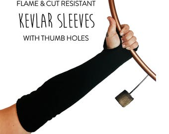 "Black Kevlar Sleeves with Thumb Holes (Flame & Cut Resistant\18"" Length\1 Size Fits Most\Set of 2)"