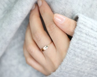 Personalized Ring .Bar Ring . Custom Initial Ring • Hand Stamped Name • Gold Fill. Sterling Silver, Rose Gold Fill ER004