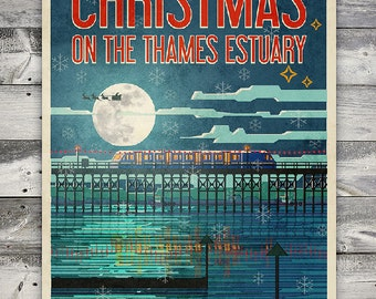 Christmas on the Thames Estuary - Poster (A4 & A2 sizes)